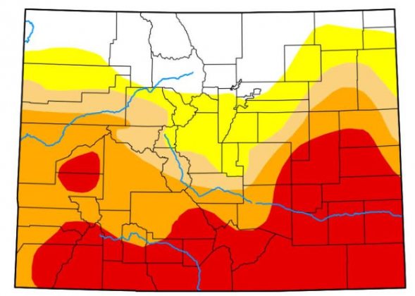 This map shows drought conditions in the state of Colorado as of June 18. Red coloring shows areas of extreme drought, while orange depicts areas of severe drought. Map courtesy US. Drought Monitor