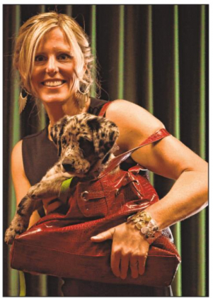 Lindsay Hepp and Petra participate in a previous Furry Flicks & Fashion Event, showcasing shelter dogs, couture and dog-themed short films. Courtesy photo