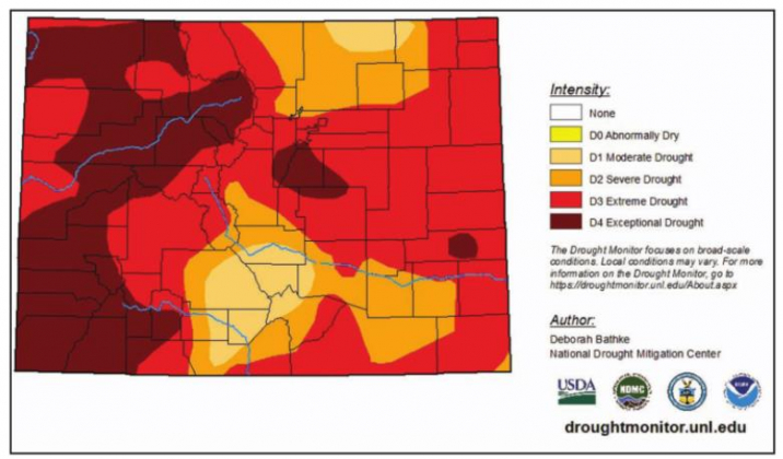 The map above shows the current drought conditions in Colorado. Nearly all of Ouray County, save for a sliver in the northeast corner, remains in exceptional drought, the most severe category. Courtesy U.S. Drought Monitor