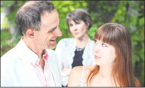 "UpstART Theater's production of ""Stupid F-cking Bird"" this weekend features Director John Kissingford as Doyle, actress Kate Kissingford as Emma and actress Hadley Gallen as Nina. The play, a modern adaptation of Chekhov's ""The Seagull,"" has multiple love triangles. Photo courtesy LaBree Shide"