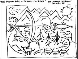 Salida artist Jimmy Descant will create the artwork for Ridgway's Space to Create project. Above is Descant's sketch depicting both historical and potential futuristic elements. Sketch courtesy Town of Ridgway