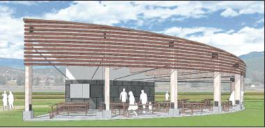 An architect's rendering shows what theproposed pavilion will look like at Ridgway's Athletic Park. Town councilors have approved the site and design for the 2,300 square foot building, which will feature a sloped roof, a sheltered area with picnic tables, storage facilities and a concession area. The town hopes to come up with $100,000 by the end of the year to match a $300,000 contribution by an anonymous donor. Architect rendering courtesy Reynolds Ash + Associates
