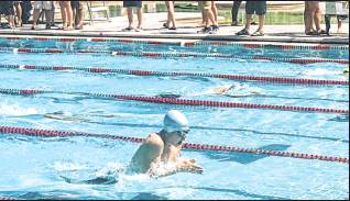 Kaden Nelson swims in the breaststroke competition. Photo courtesy Evelyn Nelson