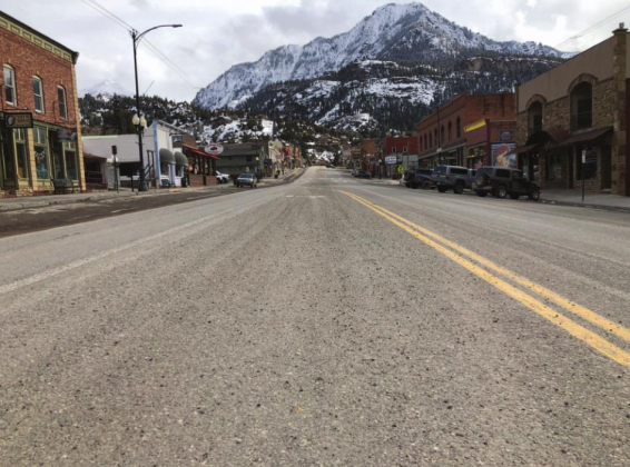 The closure of lodging facilities and the elimination of sit-down dining has turned Ouray into a virtual ghost town. Main Street was nearly empty on Sunday afternoon as visitors have been encouraged to return to or stay home and local residents self-isolate. Mike Wiggins —Ouray County Plaindealer