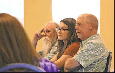 From left, Ridgway town councilors Russ Meyer and Tessa Cheek and Mayor Pro Tem Eric Johnson listen as Patrick Rondinelli with the Department of Local Affairs explains how the town could proceed with searching for a new town administrator. Plaindealer photo by Erin McIntyre