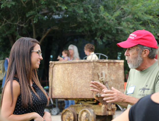3rd Congressional District Republican candidate Lauren Boebert talks with supporter J. Gary Dunn of Ouray at her meet-and-greet event on Saturday at the Orvis Ranch.