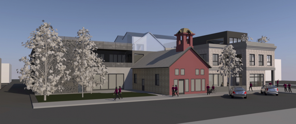 The Old Stone House development wrapping around the historic Ridgway firehouse includes space for a cooking school, restaurant, tavern, garden, housing and exhibition space in a live-work campus. Developer Patrick O'Leary plans on keeping the old firehouse and building the new development around it, and would also like to keep a portion of the sculpture garden currently at the site. Rendering courtesy John Baskfield/Conterra Workshop