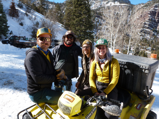 Special to The Ouray County Plaindealer Ice farmer Justin Hofmann, left, is pictured with fellow ice farmers Lucas Carrion and Xander Bianchi and Ouray Ice Park volunteer Angela Sena.