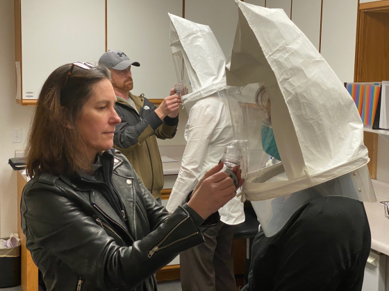 Ouray County Public Health Agency administrative specialist Victoria Durnan, front left, fits Mountain Medical staffer Susie Blakney for an N95 mask. (Courtesy photo)