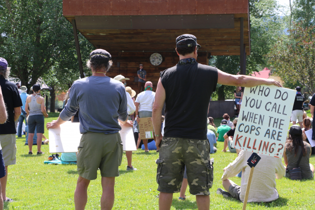 Ridgway resident Owen Juell, is speaks to the crowd during a demonstration in Hartwell Park on June 13. Juell and other teens organized the event, which followed another protest the week before in Ouray.