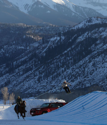 "Rider Josh Abbott pulls skier Aaron Griffen during the open competition at the San Juan Skijoring competition on Saturday. The team and horse Elvis completed the run in 22.09 seconds. ""It's surreal,"" organizer Sarah McConnell said after the first day of competition had gone smoothly. ""I didn't know if we'd ever get here."" Erin McIntyre — Ouray County Plaindealer"