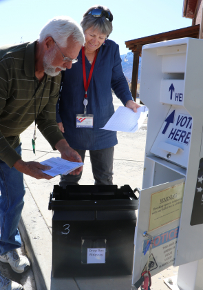 Election judges Mike Boland and Vicki Warner-Huggins collect ballots from the box at the Ouray County Fairgrounds on Tuesday morning. A late rush of ballots kept the Ouray County Clerk's Office and elections staffers busy on Election Day. Plaindealer photo by Erin McIntyre