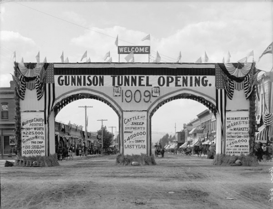 """Gunnison tunnel opening; the arch at Montrose"" by Walter J. Lubken, Uncompahgre Irrigation Project, Colorado, September 23, 1909  National Archives and Records Administration, Records of the Bureau of Reclamation"